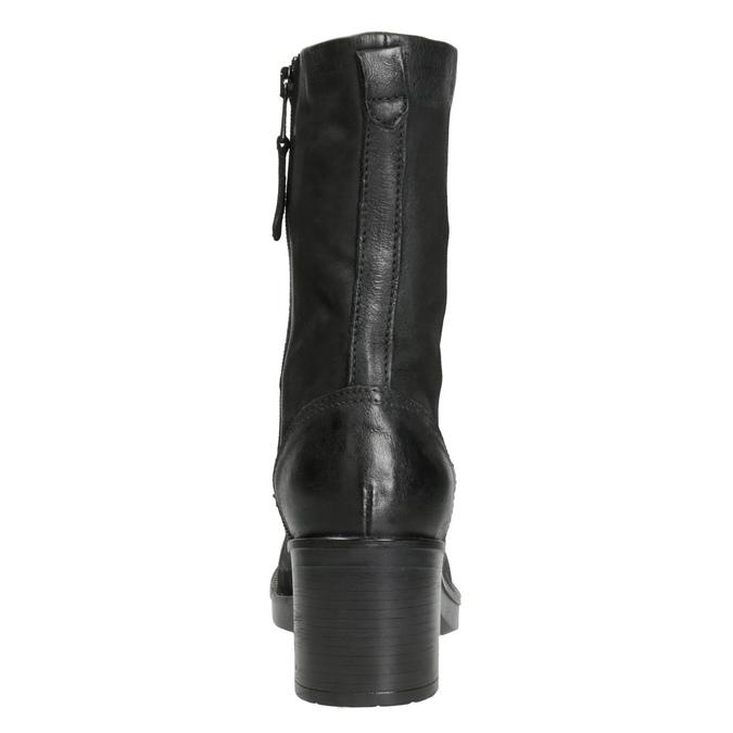 Czarne skórzane kozaki bata, czarny, 696-6646 - 16