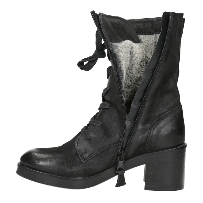 Czarne skórzane kozaki bata, czarny, 696-6646 - 15