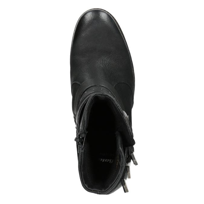 Buty ze skóry za kostkę z klamrami bata, czarny, 596-6660 - 15