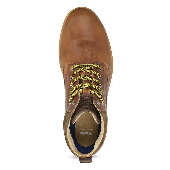Brązowe skórzane obuwie męskie za kostkę bata, brązowy, 846-3645 - 17