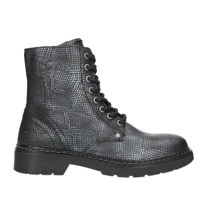 Dziecięce sznurowane buty ze skóry bullboxer, czarny, 496-6016 - 26