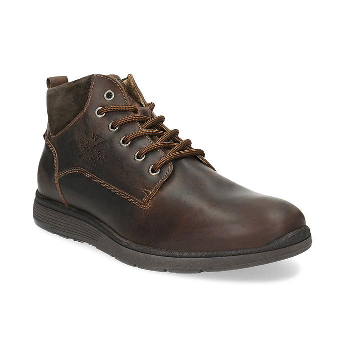 Skórzane obuwie męskie za kostkę, zprzeszyciami bata, brązowy, 846-4645 - 13