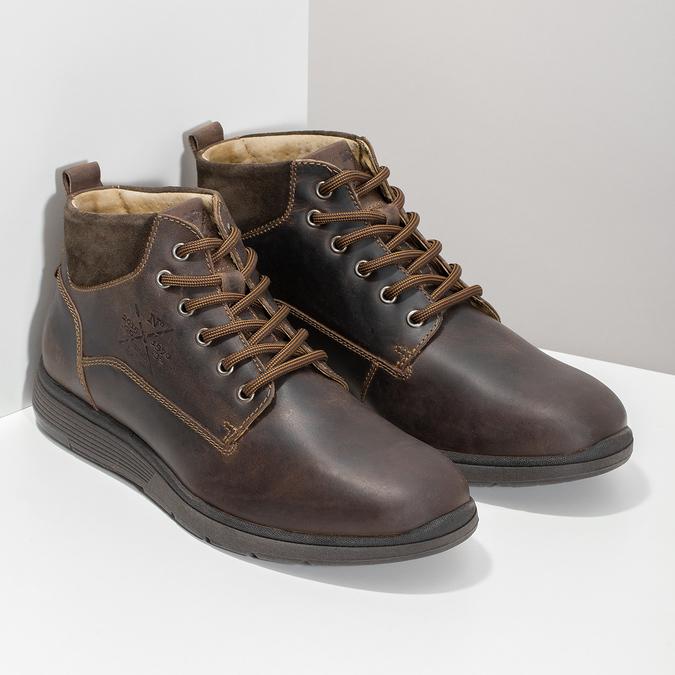 Skórzane obuwie męskie za kostkę, zprzeszyciami bata, brązowy, 846-4645 - 26