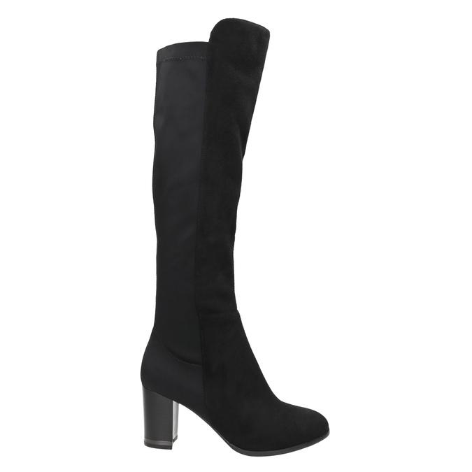 Kozaki zelastyczną cholewką bata, czarny, 699-6635 - 15
