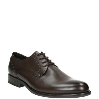 Brązowe skórzane półbuty typu angielki bata, brązowy, 824-4618 - 13