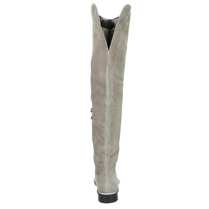 Szare skórzane kozaki za kolana bata, szary, 593-2605 - 17