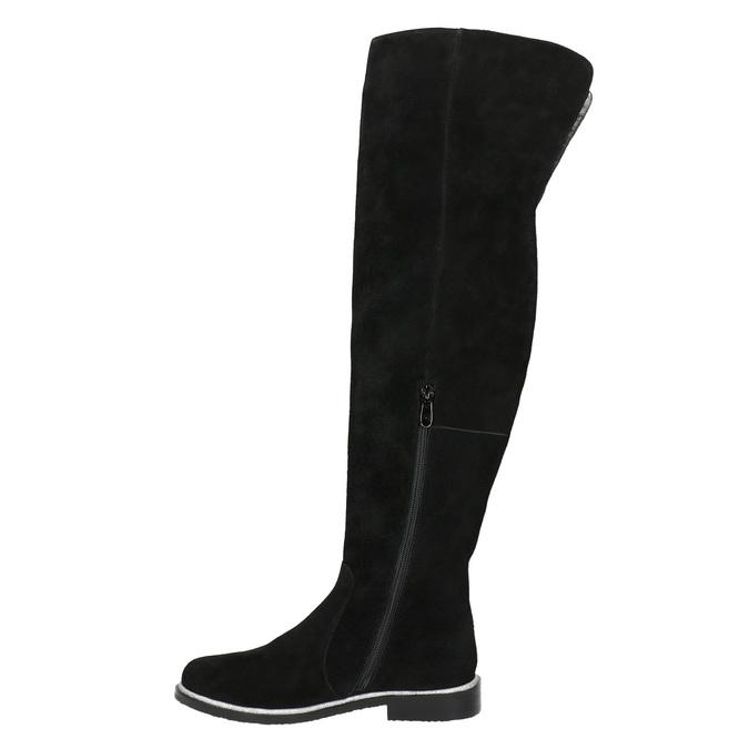 Zamszowe kozaki za kolana bata, czarny, 593-6605 - 26