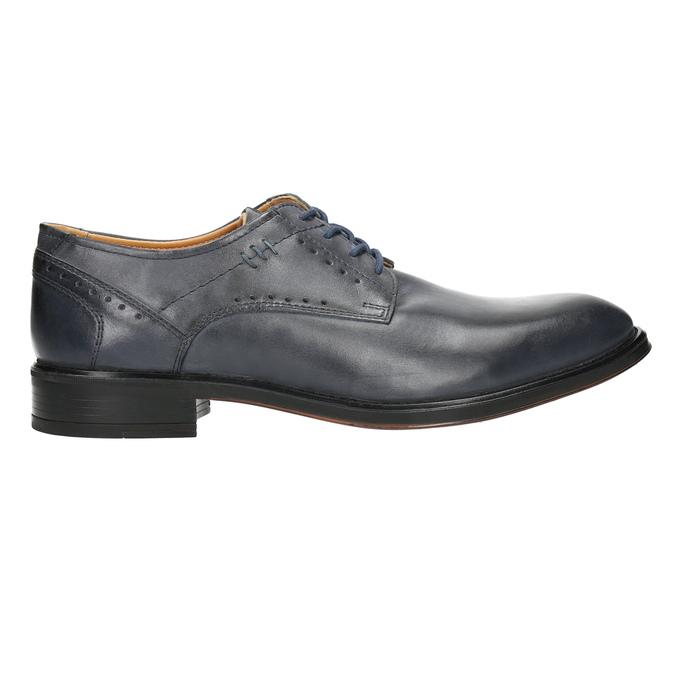Granatowe skórzane półbuty męskie bata, niebieski, 826-9913 - 15