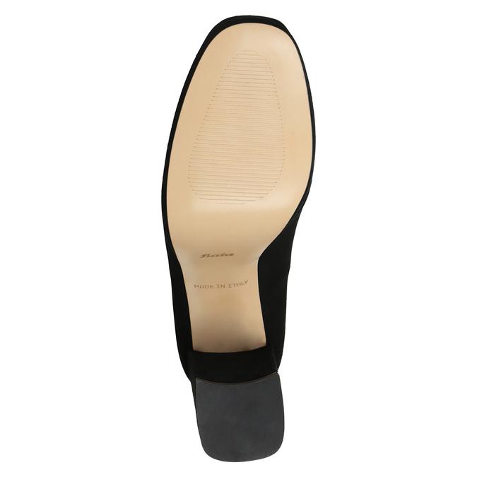 Skórzane czółenka na grubych słupkach bata, czarny, 723-6950 - 17
