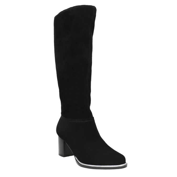 Czarne zamszowe kozaki bata, czarny, 693-6603 - 13