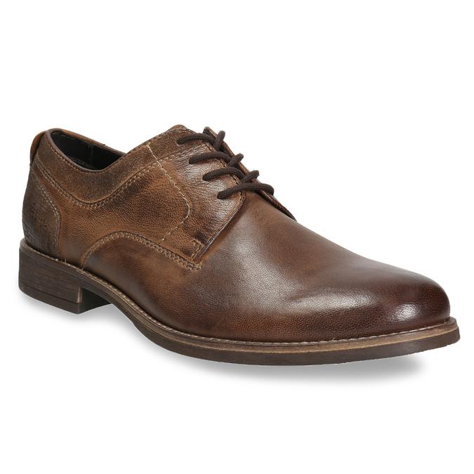 Skórzane półbuty męskie zprzeszyciami bata, brązowy, 826-4610 - 13