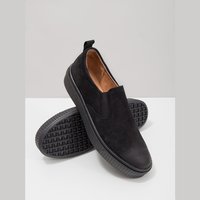 Skórzane slip-on damskie bata, czarny, 516-6613 - 18