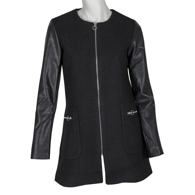 Damski płaszcz zrękawami ze skóry ekologicznej bata, czarny, 979-6153 - 13