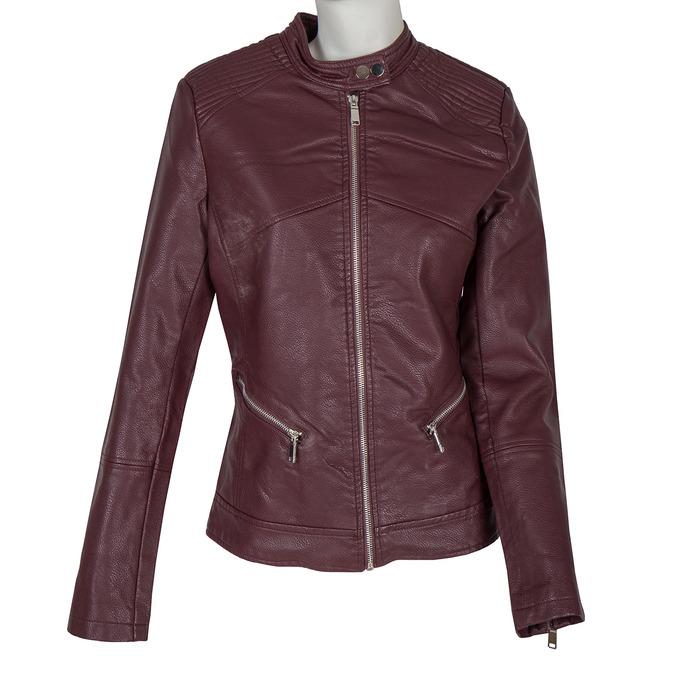 Bordowa kurtka ze skóry ekologicznej bata, czerwony, 971-5203 - 13