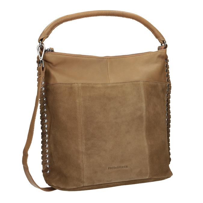 Skórzana torebka zprzeplatanymi paskami fredsbruder, brązowy, 963-3005 - 13