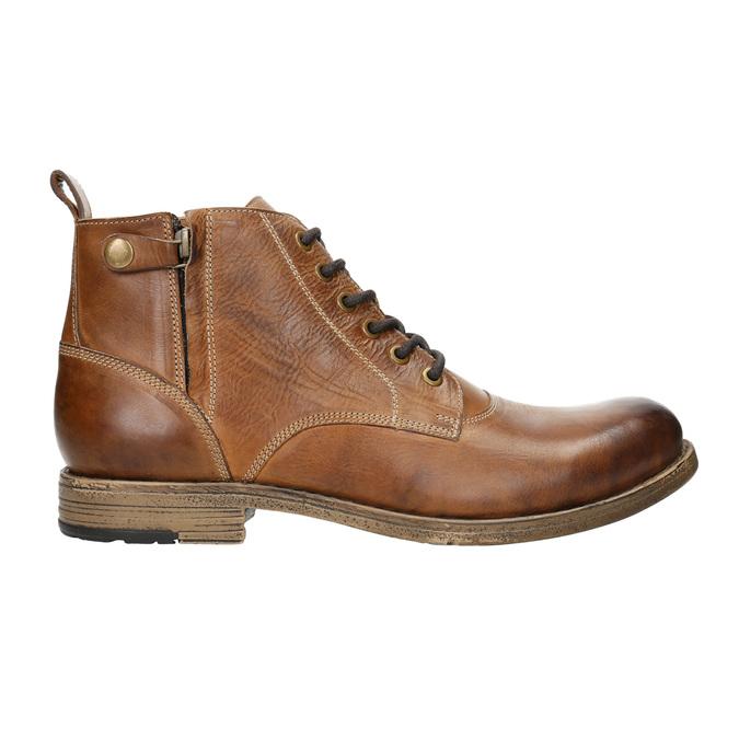 Brązowe skórzane buty za kostkę bata, brązowy, 896-3684 - 15