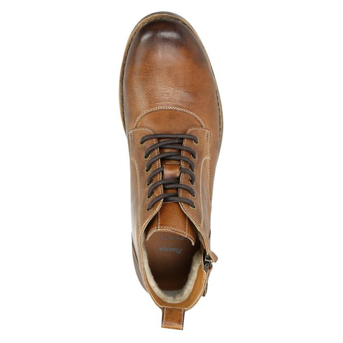 Brązowe skórzane buty za kostkę bata, brązowy, 896-3684 - 26