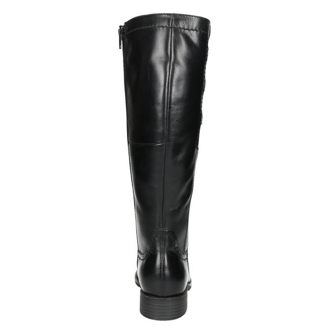 Skórzane kozaki z elastycznym paskiem bata, czarny, 596-6655 - 17
