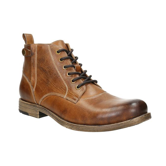 Brązowe skórzane buty za kostkę bata, brązowy, 896-3684 - 13