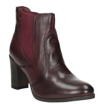 Skórzane buty za kostkę na obcasie bata, czerwony, 796-5647 - 13