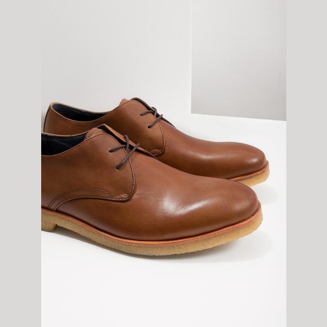 Skórzane półbuty na nieformalnej podeszwie bata, brązowy, 826-3412 - 18