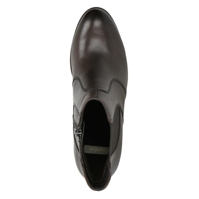 Skórzane buty za kostkę na obcasie bata, brązowy, 796-4647 - 26