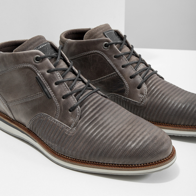 Szare skórzane obuwie za kostkę bata, szary, 826-2912 - 14