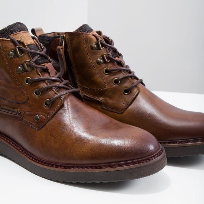 Buty ze skóry za kostkę bata, brązowy, 896-3675 - 14