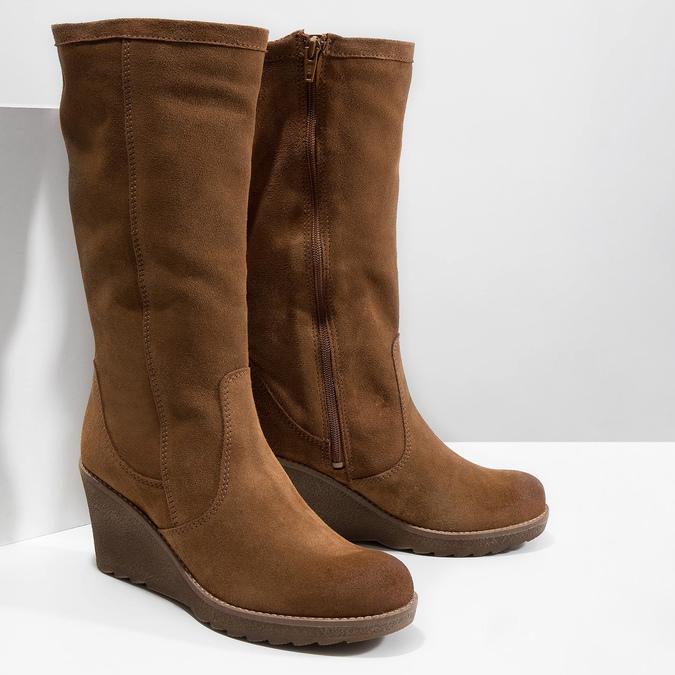 Brązowe kozaki ze skóry bata, brązowy, 793-4607 - 18