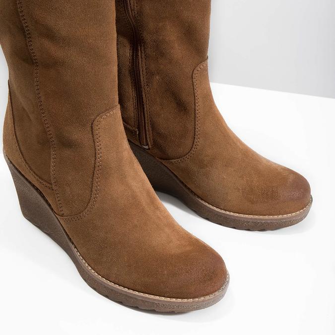 Brązowe kozaki ze skóry bata, brązowy, 793-4607 - 14