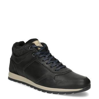 Skórzane trampki męskie zociepliną bata, czarny, 846-6646 - 13