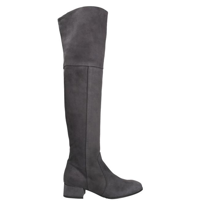 Skórzane kozaki damskie za kolana bata, szary, 693-2604 - 26