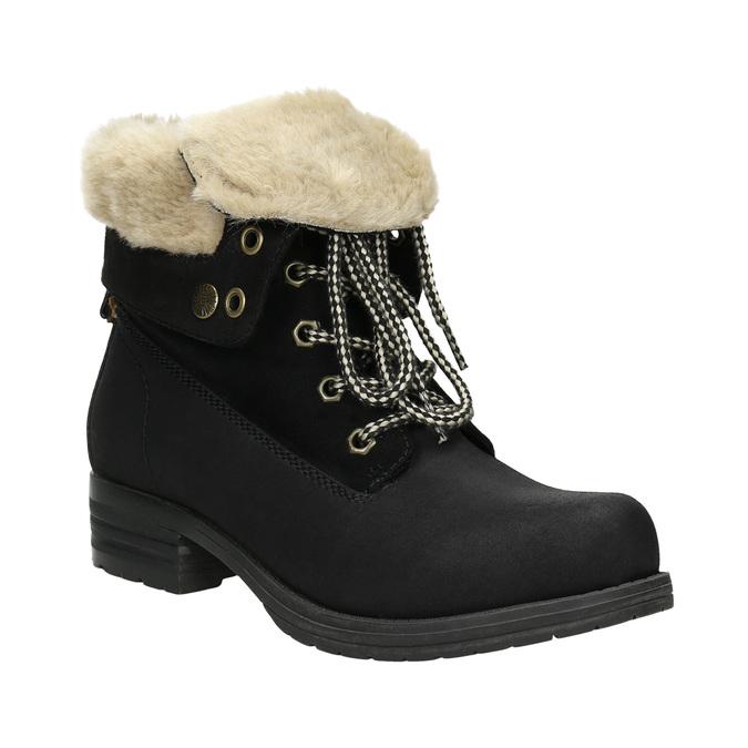 Buty za kostkę z kożuszkiem bata, czarny, 591-6618 - 13