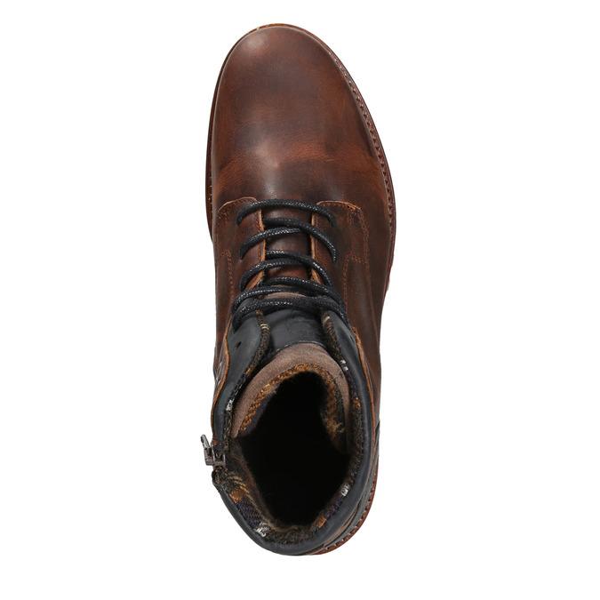 Skórzane obuwie męskie na grubej podeszwie bata, brązowy, 896-4665 - 26