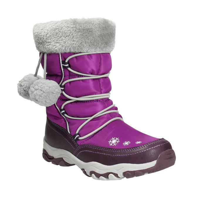 Śniegowce dziewczęce zpomponami mini-b, fioletowy, 399-5656 - 13