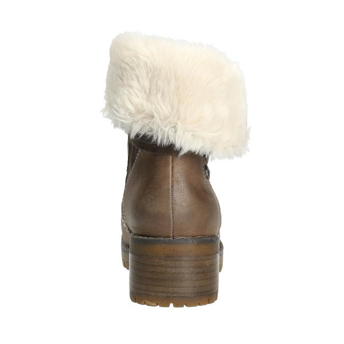 Buty za kostkę z kożuszkiem bata, brązowy, 691-2633 - 17