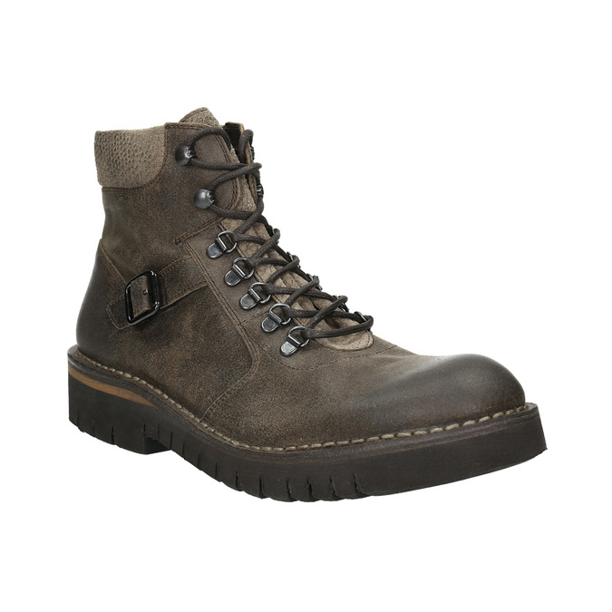 Obuwie męskie za kostkę, na grubej podeszwie bata, brązowy, 896-4683 - 13