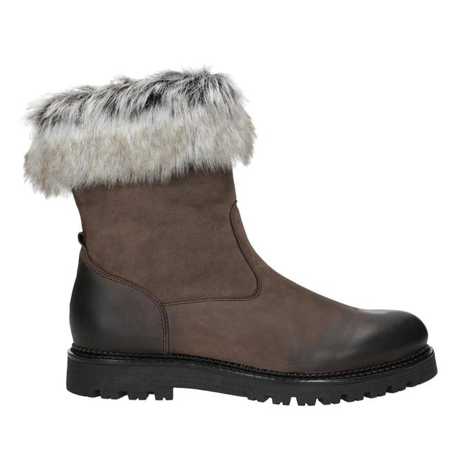Skórzane buty damskie zfuterkiem bata, brązowy, 594-4657 - 26