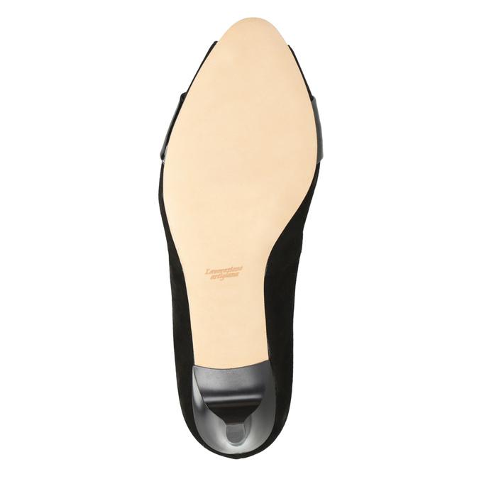 Skórzane czółenka zotwartymi noskami bata, czarny, 623-6603 - 17