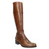 Skórzane kozaki damskie zklamrą bata, brązowy, 594-3427 - 13