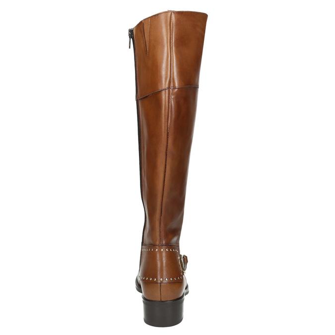 Skórzane kozaki damskie zklamrą bata, brązowy, 594-3427 - 17