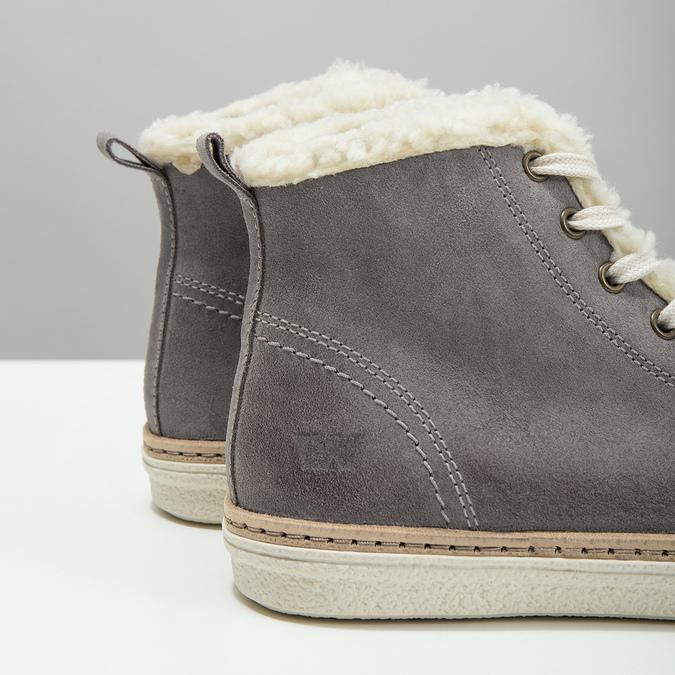 Skórzane buty sportowe do kostki z futerkiem weinbrenner, szary, 596-2627 - 14