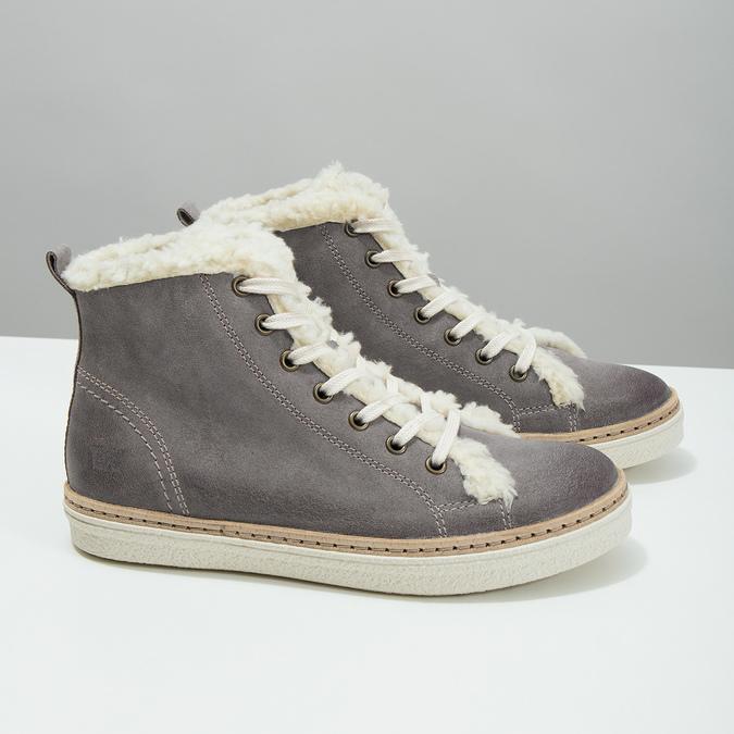 Skórzane buty sportowe do kostki z futerkiem weinbrenner, szary, 596-2627 - 18