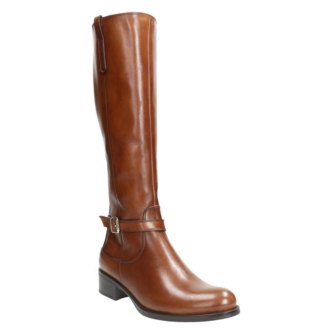 Brązowe skórzane kozaki bata, brązowy, 596-4665 - 13