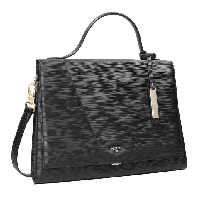Czarna skórzana torebka picard, czarny, 966-6050 - 13