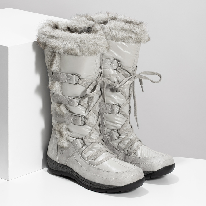 Zimowe śniegowce zfuterkiem bata, szary, 599-8618 - 26