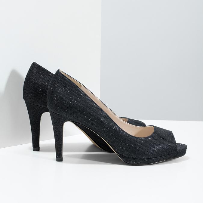 Czółenka zotwartymi noskami bata, czarny, 729-6610 - 16
