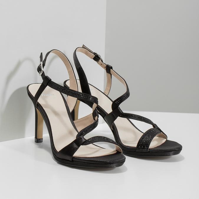 Wyjściowe sandały damskie zkryształkami bata, czarny, 729-6611 - 26