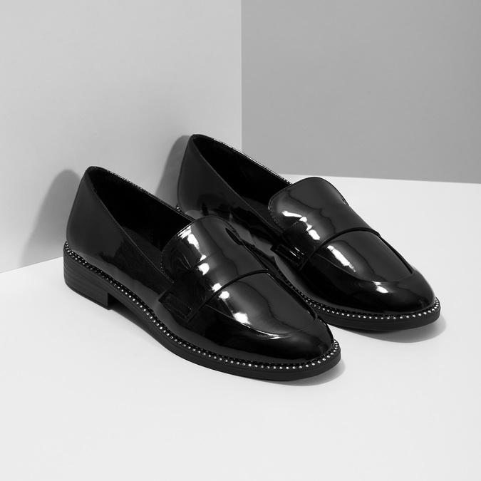 Lakierowane mokasyny damskie bata, czarny, 511-6607 - 26