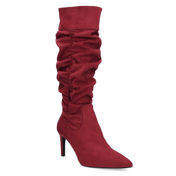 Czerwone kozaki damskie zmarszczeniami bata, czerwony, 799-5619 - 13